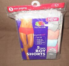 FRUIT OF THE LOOM~S 5~5 Pair Assorted Solid Beyond Soft Cotton Boyshort Panties