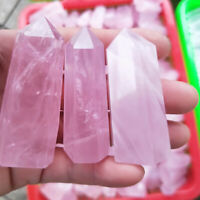 100% Natural Rock Pink Rose Quartz Crystal Wand Point Healing Stone 7-8cm #C5X