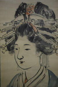 JAPANESE PAINTING HANGING SCROLL JAPAN Old Antique Geisha BEAUTY WOMAN 625p