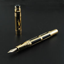 Hero 2065 Black Fountain Pen 10K Gold Fine Nib With Gift Box
