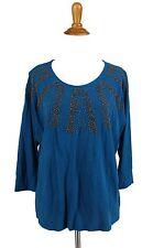 COLDWATER CREEK Top M Blue Slub Knit T Shirt Top Beaded Knit