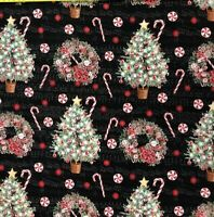 CHRISTMAS TREES and MUSIC cotton print  by ROBERT KAUFMAN BTY