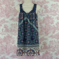 As U Wish Womens Sleeveless Chiffon Lace Dress Size S Small Navy Blue Lined