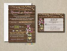 Wedding Invitations Rustic Flowers & Lights 50 Invitations & RSVP Cards