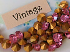 Vintage Chatons 4mm Rose Pink Gold Foil Rhinestones NOS Czech Optima  #1238A