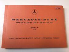 1965-1972 Mercedes W108 W111 250s 280s 250SE 280SE 300SEB Spare Parts Manual