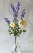 Artificial flower arrangement in a glass vase - Lavender & Ranunculus, 45cm tall