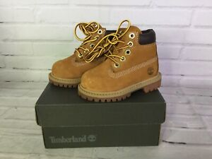 Timberland Toddler Boys Girls Size 4 Premium 6inch Waterproof Boots Wheat Nubuck