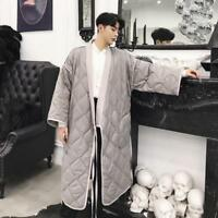New Men Cozy Long Kimono Robe Jacket Padded Puffer Down Quilted Coat Parka 2019