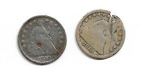 Lot of 2 Seated Liberty Half Dimes : 1858 1858-O