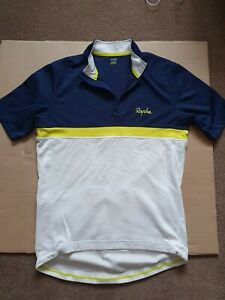 Rapha Club Jersey Extra Merino Wool & Polyester Blue & Cream with Yellow Stripe