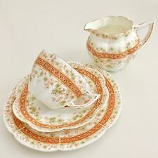 Wileman Tea for One set, patt.7246 Carnations & Floral Band on New Fairy shape