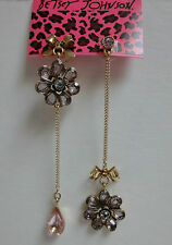 Betsey Johnson Iconic Spring Bloom Crystal Flower Bow Drop Mismatch Earrings NWT
