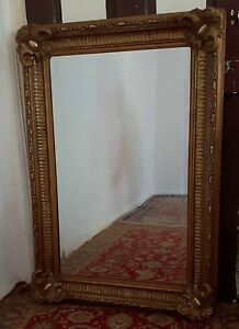 Spiegel 19. Jh. Rahmen geschnitzt vergoldet sehr groß & schwer Facetten-Glas