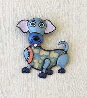 Unique artistic  Large  dog brooch enamel on metal