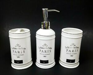 3 PC SET LA MAISON DES PERLES PARIS IVORY,SILVER SOAP DISPENSER,TUMBLER,TOOTH-B