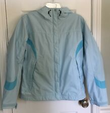 Columbia Packable Nylon Lined Jacket With Hood Blue Womens Medium EUC