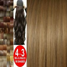 CLEARANCE Hair Extension Half Head 1 Piece Curly Straight feels real Chestnut