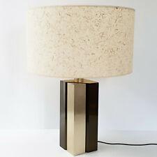 Lamp Table 1970 Vintage in Altuglas & Steel Brush Golden Edition Jalest 70S