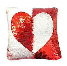 Sequin Heart Cushion Colour Change Two Tone Love Heart Sequin Cushion 30cmx30cm