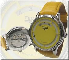 Trias Uhren gelbe Automatikuhr mit digitaler Zeit-Anzeige Ø 42 mm Unisexuhr