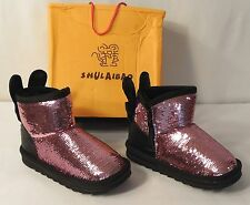 Girls Fashion Boots Pink Sequins,Faux Rabbit Fur,Ears,Bow, Kid/Toddler 11 / 18.5