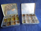A PAIR OF VINTAGE MARTIN JAMES RETAILED POCKET FLY TINS AND FLIES