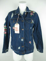 Wax Jean NEW Women sz M Cotton Distressed Button-Front Floral Blue Denim Jacket