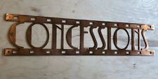 Concessions Sign Home Theatre Wall Art Hanging in Rustic Copper Patina