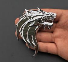 1Pc Chrome Metal 3D Wolf Head Auto Car Motorcycle Emblem Badge Decal Sticker