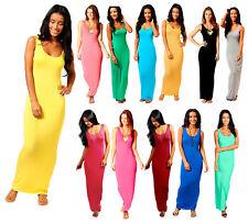 Women Ladies Jersey Long Summer Vest Racer Muscle Back Maxi Dress 6 8 10 12 14