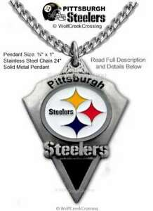 """PITTSBURGH STEELERS NECKLACE 24"""" STAINLESS STEEL CHAIN NFL FOOTBALL FREE SHIP A'"""