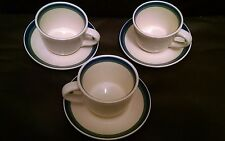 Pfaltzgraff Northwinds Three 3 Coffee Cups and Saucers Sets Blue Green Bands