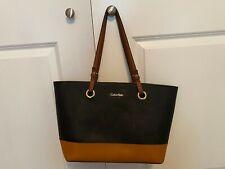 CALVIN KLEIN Black+Brown Saffiano Leather Hand Bag/Tote