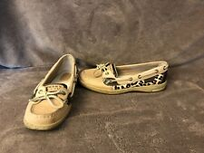 Womens Sperry Top-Sider Tan & Brown Leather Boat / Deck Shoe Loafer 7 M