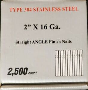"""16 Gauge. 2"""" Straight Finish Nails. Stainless Steel. 2500 Count Per Box."""