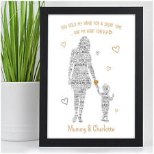 PERSONALISED Mum Mummy and Son Daughter Print Christmas Gifts for Mum Nanny Mom