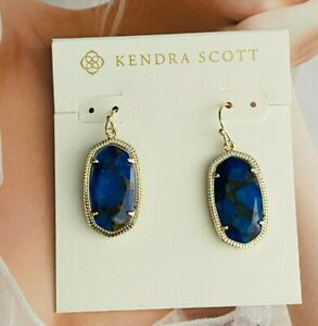 Kendra Scott Blue/Godlen Drop Fashion Pendant Earrings