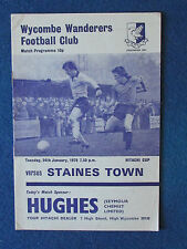 Wycombe Wanderers v Staines Town - 24/1/78 - Hitachi Cup Programme