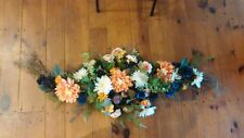 """Handmade Floral Arch Navy Coral Swag Wedding Topper Ferns Rustic 48"""" x 20"""""""