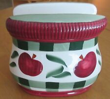 1999 YOUNG'S EXCLUSIVE APPLES PLAID NAPKIN HOLDER - RUSTIC FARMHOUSE