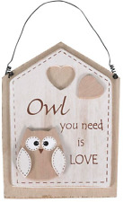 Owl You Need Is Love Hanging Sign - Gift Themed Wooden Plaque Wall Wedding