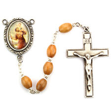 Rosary St Christopher Pewter Silver 5 Decade Olive Wood Beads Vintage Catholic