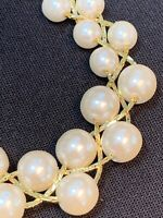 "Vintage Graduated White Pearl Gold Woven Strand Necklace Wedding Prom 18"" Long"