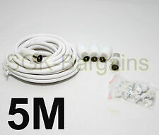 5m Kit de Extensión de Cable Coaxial Antena de TV TDT enchufes de cable coaxial de plomo