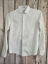 LRN Boy's Size 14 Clavin Klein White Sateen Long Sleeve Button Down Dress Shirt