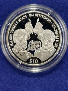 2000 Proof .999 Silver Republic Liberia $10 Gettysburg  .273ASW- Free Shipping