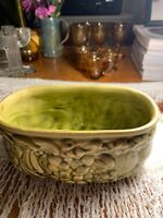 Art Deco Antique Olive Green Glazed Pottery Planter~Relief Fruit Oval~Majolica