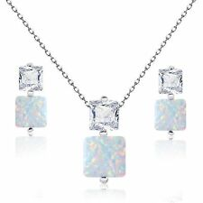 Princess White Fire Opal with Clear CZ Sterling Silver Necklace Earring Set