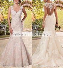 New 2017 White/Ivory Mermaid Lace Mermaid Wedding Dress Custom Size 4 6 8 10 12+